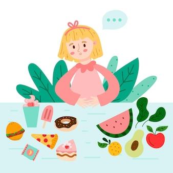 Frau, die zwischen gesundem und ungesundem essen wählt