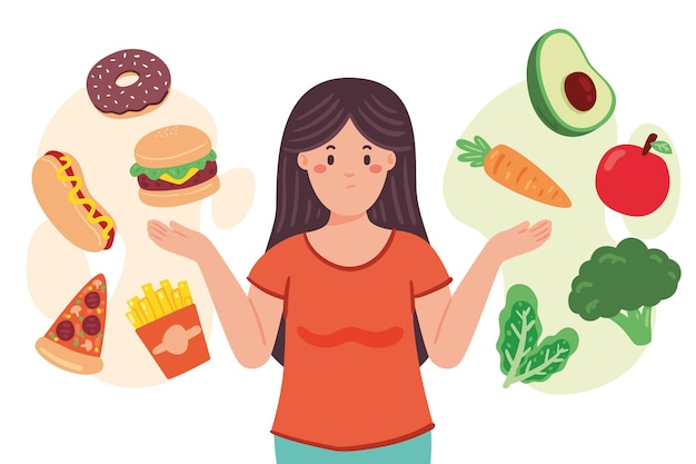 Frau, die zwischen gesunder oder ungesunder lebensmittelillustration wählt
