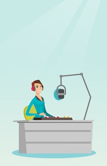 Frau dj, die an der radiovektorillustration arbeitet
