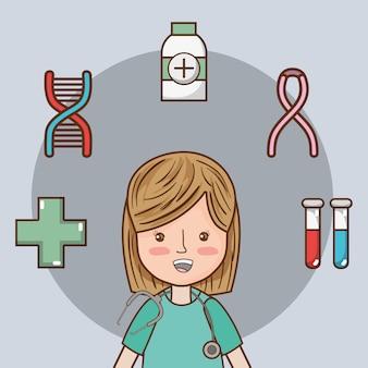 Frau doktor mit uniform und medizinische diagnose
