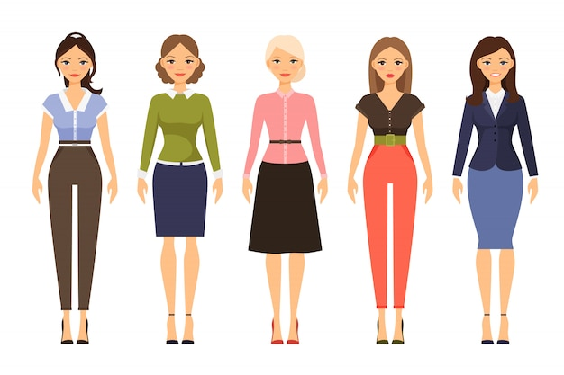 Frau dresscode vektor-illustration. schöne frauen in verschiedenen outfits