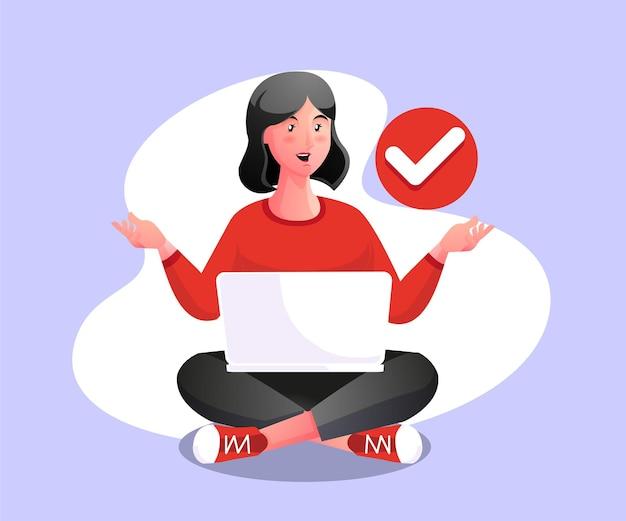 Frau entspannen mit laptop, um die arbeit zu erleichtern