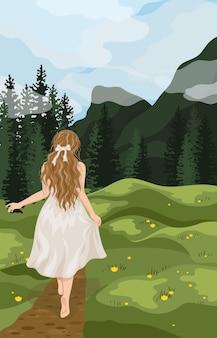 Frau entspannen sich im freien an der natürlichen landschaftswohnung