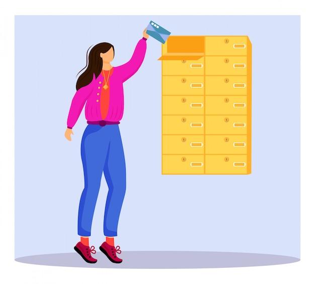 Frau erhält brief flache farbillustration. post aus der mailbox bekommen. lieferservice. nehmen karte von persönlichem postfach isolierte zeichentrickfigur auf blauem hintergrund