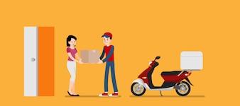 Frau erhält einen Warenlieferdienst vom Absender.
