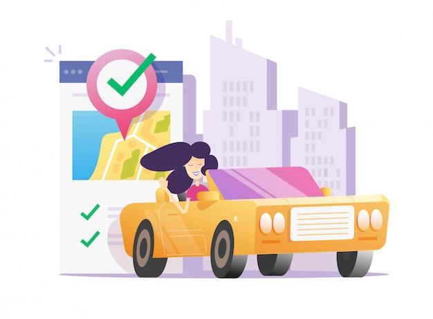 Frau fährt mit gps
