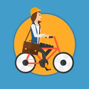 Frau fahrrad fahren.