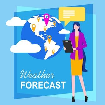 Frau fernsehreporter weather forecast vector illustration.