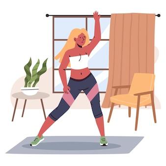 Frau fitness tanzen zu hause