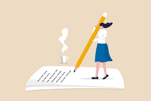 Frau freiberuflich hält großen bleistift denken und inhalt schreiben
