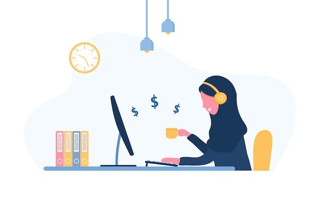 Frau freiberuflich tätig. arabisches mädchen im kopfhörer mit laptop, der an einem tisch sitzt. konzeptillustration für arbeiten von zu hause aus, studieren, bildung, gesunder lebensstil. illustration im flachen stil.
