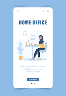 Frau freiberuflich tätig. landingpage-vorlage. arabisches mädchen im kopfhörer mit laptop, der an einem tisch sitzt. mobiler hintergrund. konzeptillustration für studium, online-bildung, arbeit von zu hause aus.