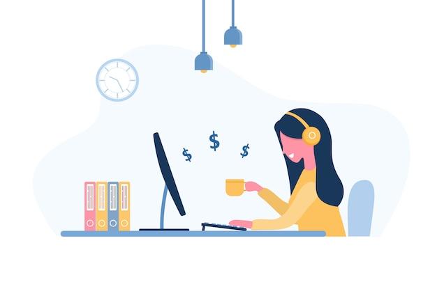 Frau freiberuflich tätig. mädchen in den kopfhörern mit laptop, der an einem tisch sitzt. konzeptillustration für arbeiten von zu hause aus, lernen, bildung, kommunikation, gesunder lebensstil. im flachen stil.