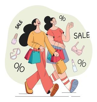 Frau freundinnen, die einkäufe mit großem verkauf tätigen
