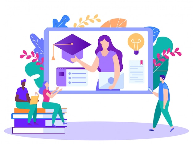 Frau führt kursvorträge online an. fernunterricht. online-unterricht. e-learning. onlinetraining.