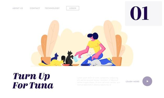 Frau füttert katzen, verbringt zeit und kümmert sich um haustiere, freundschaft, lebensstil, freizeit. mädchen legte essen in kätzchen platte website landing page, webseite. karikatur-flache vektor-illustration
