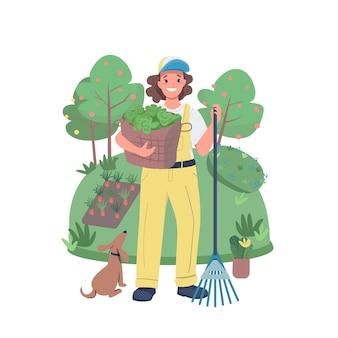 Frau gärtner flache farbe detaillierten charakter. landarbeiter. bauer. fröhlicher weiblicher bauer mit ernte lokalisierte karikaturillustration für webgrafikdesign und -animation