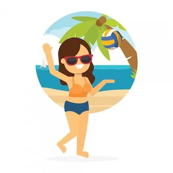 Frau gehen, in sommerferien zu reisen, junges mädchen, das beachvolleyball spielt