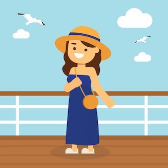 Frau gehen, in sommerferien zu reisen