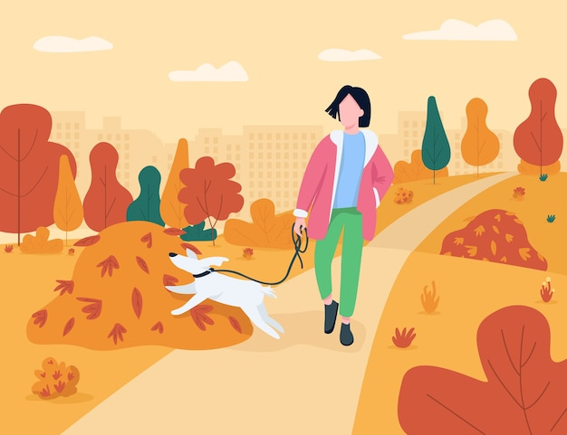 Frau gehen mit halbflacher illustration des hundes. erholung in der herbstsaison im stadtpark. mädchen mit hündchen an der leine im städtischen garten. weibliche tierhalter 2d-zeichentrickfiguren für den kommerziellen gebrauch