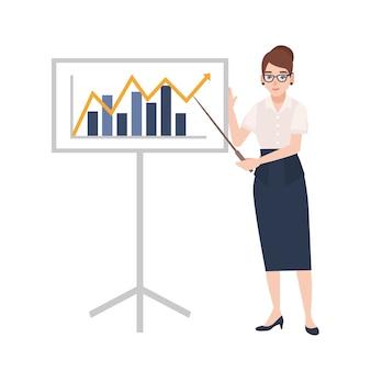 Frau gekleidet in geschäftskleidung, die zeiger hält und neben whiteboard mit balkendiagramm steht