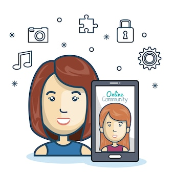 Frau gemeinschaft online-smartphone mit app-medien-design