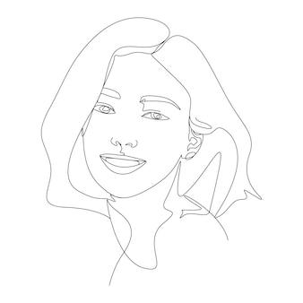 Frau gesicht eine linie kunst illustration