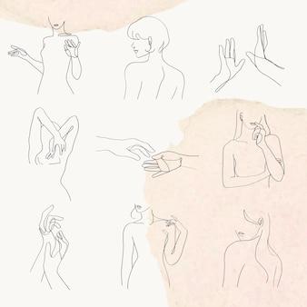 Frau geste strichzeichnung vektor feminine pastell aquarell illustration set