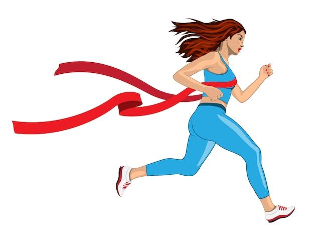 Frau gewinnt ihren laufwettbewerb mit rotem band der ziellinie