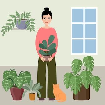 Frau hält die pflanze. illustration