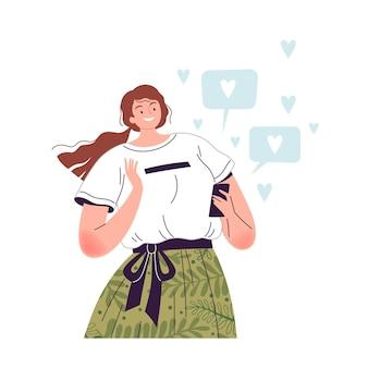 Frau hält ein telefon in der hand und genießt viele likes in sozialen netzwerken