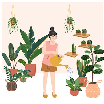 Frau hält eine gießkanne und gießt blumen, pflanzen zu hause. hand gezeichnete moderne vektorillustration.