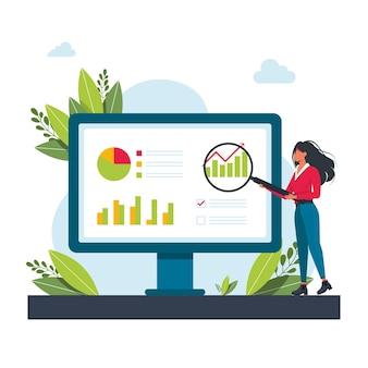 Frau hält eine lupe am monitor und untersucht das diagramm. mädchen, das checkliste mit lupe studiert, diagramme analysiert, geld trägt geschäftskonzept.