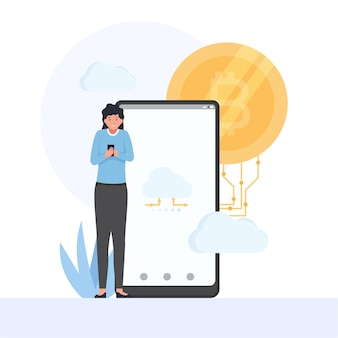 Frau hält telefon und bitcoin hinter metapher des cloud-mining