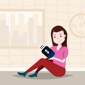 Frau hält usb-laufwerk sitzende charaktervorlage für designarbeit und animation flach