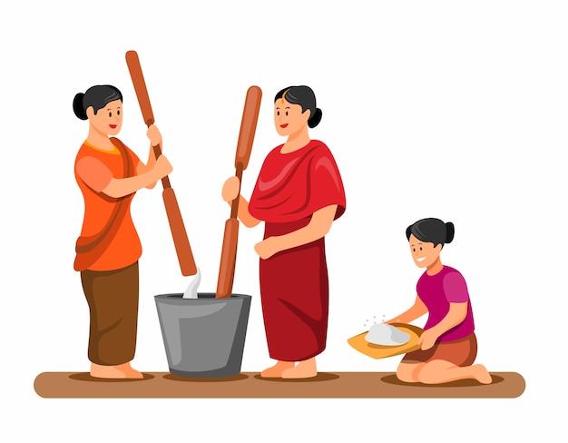 Frau hämmert und putzt reis traditionelle aktivität
