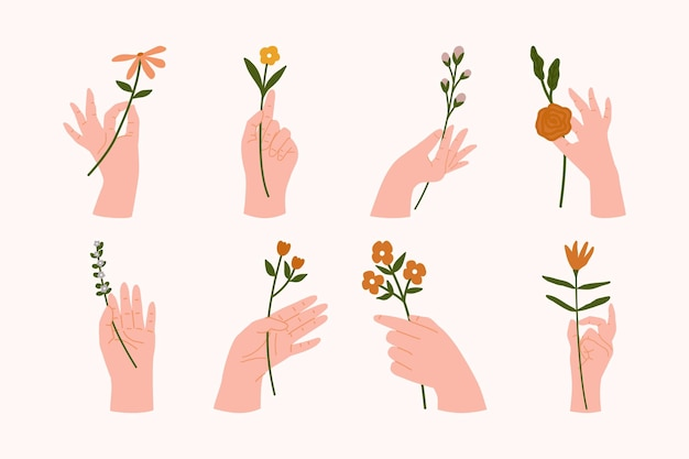 Frau hände in verschiedenen gesten, die blumensträuße oder blumensträuße flach halten