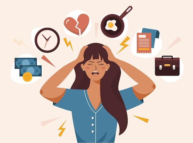 Frau hat kopfschmerzen wegen stress
