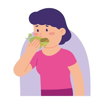 Frau hat schlechten geruch im mund