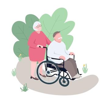 Frau hilft behinderten ehemann