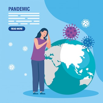 Frau husten und globus mit coronavirus-partikeln
