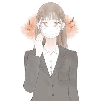 Frau im anzug, die an reibung und entzündungen leidet, die durch das tragen einer maske verursacht werden. auf weißem hintergrund.