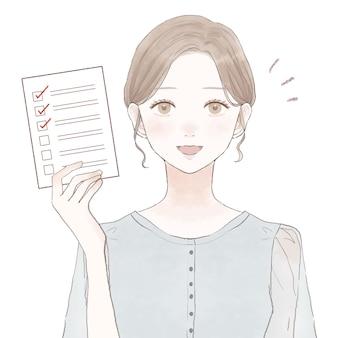 Frau im anzug mit checkliste. auf weißem hintergrund.