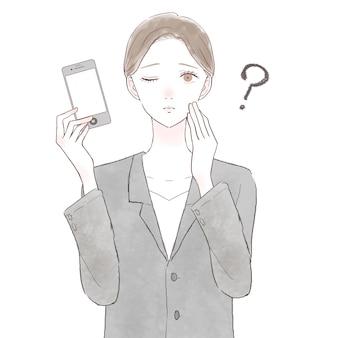 Frau im anzug mit smartphone und zweifel. auf weißem hintergrund.