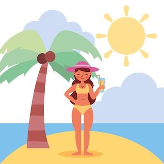 Frau im badeanzug auf inselsommerlandschaft. sommerbanner