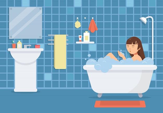 Frau im badezimmer. vektor lustige zeichen