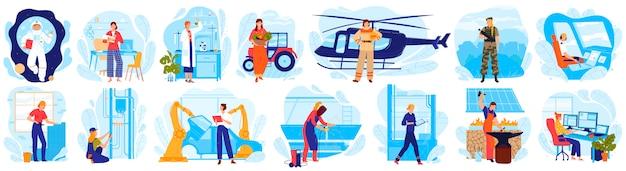 Frau im beruf illustrationssatz, karikaturfrau charakter in uniform kostümarbeit als pilot oder astronaut, wissenschaftler ingenieur