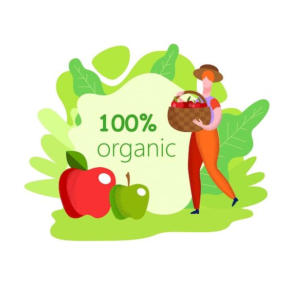 Frau im brown-overall und -hut mit korb-äpfeln