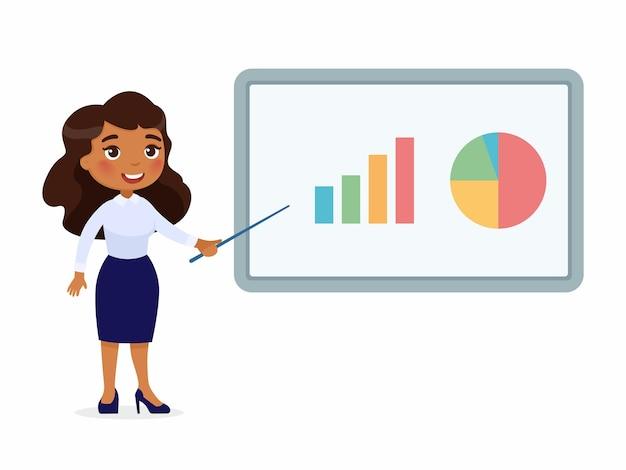 Frau im büroanzug zeigt auf ein demo-board mit grafiken