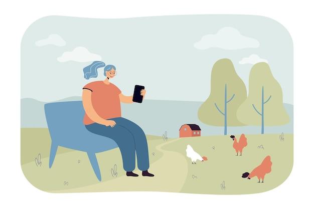 Frau im dorf, ruht auf bank mit smartphone. flache abbildung